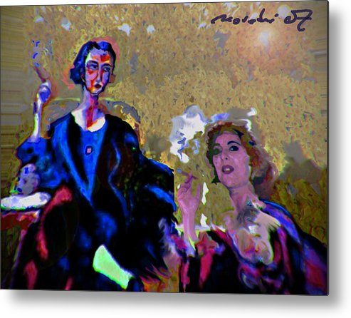 Human Composition Metal Print featuring the painting Between Us Gal by Noredin Morgan