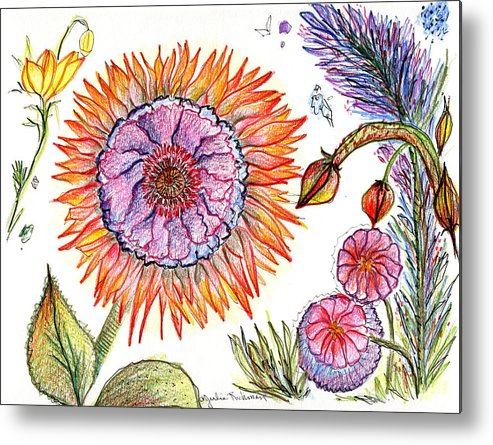 Flowers Nature Botany Drawing Julie Richman Flora Pencil Metal Print featuring the painting Botanical Flower-50 by Julie Richman