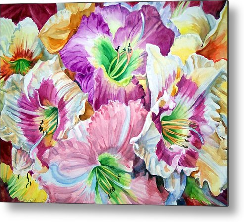 Flowers Metal Print featuring the print Daylilliesll by Bette Gray