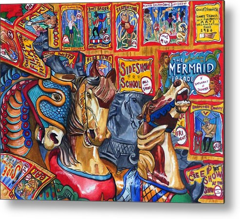Horses Metal Print featuring the print Escape From Coney Island by Bette Gray