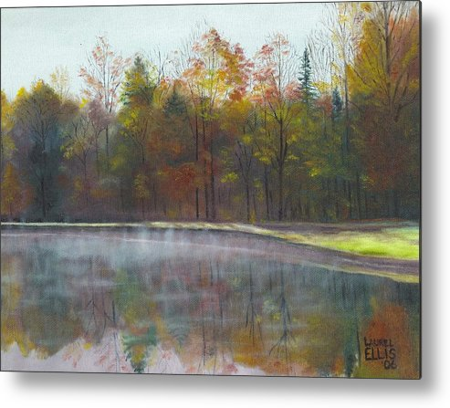 Landscape Metal Print featuring the painting Kennison Pond by Laurel Ellis