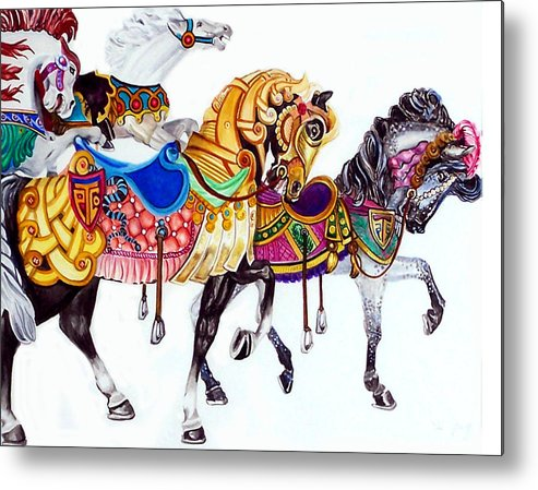 Horses Metal Print featuring the print Parade by Bette Gray