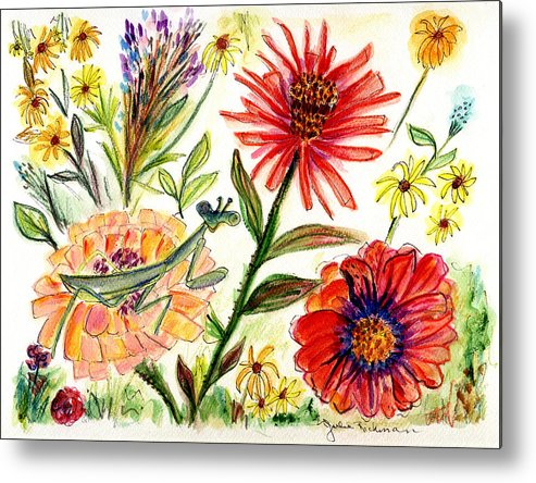 Flowers Nature Botany Drawing Julie Richman Flora Pencil Metal Print featuring the painting Praying Mantis Flowers54 by Julie Richman