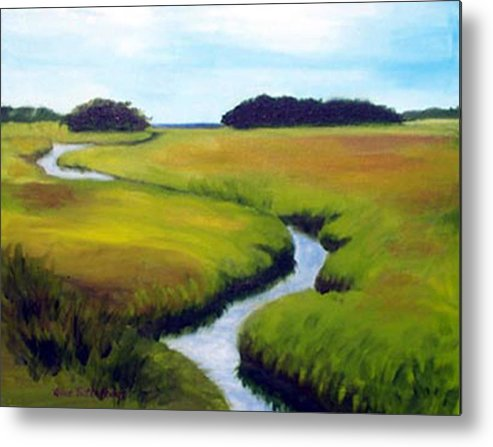 Landscape Metal Print featuring the print Summer Marsh by Anne Trotter Hodge