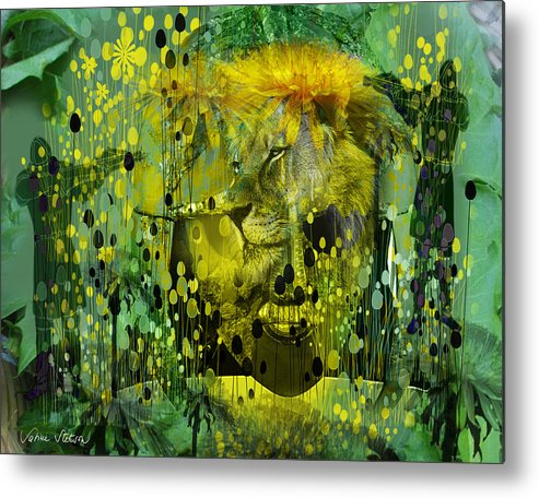 Dandelion Metal Print featuring the digital art Attacking The Dande-lion by Sabine Stetson