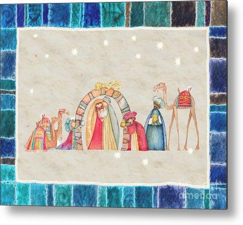 Birth Metal Print featuring the painting Christmas Nativity Scene by Vita Masi