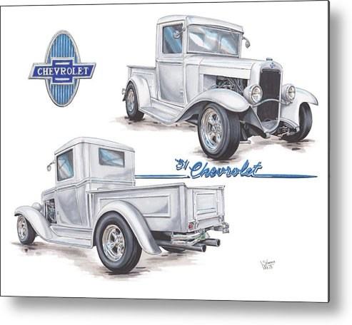 1931 Metal Print featuring the drawing 1931 Chevrolet Truck Hot Rod by Shannon Watts