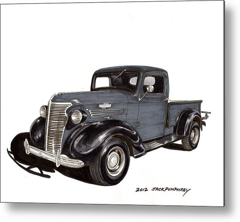 Framed Art Prints Of 1938 Chevrolet Pickup Trucks For Your Office Metal Print featuring the drawing 1938 Chevy Pickup by Jack Pumphrey