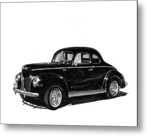 Framed Prints Of 1940 Ford Coupe Metal Print featuring the drawing 1940 Ford Restro Rod by Jack Pumphrey
