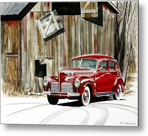 Hudson Metal Print featuring the painting 1940 Hudson And Barn by Rick Mock