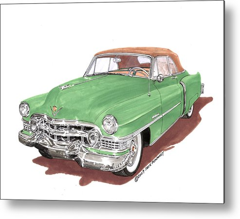 Classic Car Paintings Metal Print featuring the painting 1951 Cadillac Series 62 Convertible by Jack Pumphrey