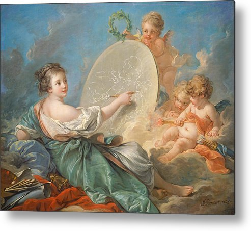 Allegory; Painting; Personification; Allegorical; Putto; Putti; Drawing; Picture; Painting; Artist; Painter; Reclining; Artist's; Tools; Paintbrush; Brushes; Palette; Canvas; Cloud; Clouds; Heavenly; Idyllic; Utopia; Utopian; Rococo; Francois; Boucher; Heaven; Heavenly; Heavens; Cherub; Cherubs; Angels; Angelic; Angel; Sky; Light; Oil; Color; Colour; Illustration; Female; Woman; Children; Girl; Delicate; Women; Cloud; Clouds; Proverb; Proverbs; Zodiac; Astrology; Zodiac Sign; Angel; Painter; Metal Print featuring the painting Allegory Of Painting by Francois Boucher