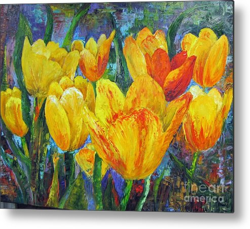 Abstract Metal Print featuring the painting Yellow Tulips by Barbara Haviland