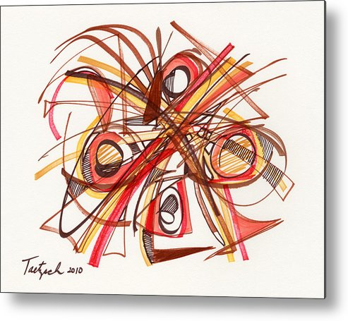 Abstract Drawing Metal Print featuring the drawing 2010 Abstract Drawing 23 by Lynne Taetzsch
