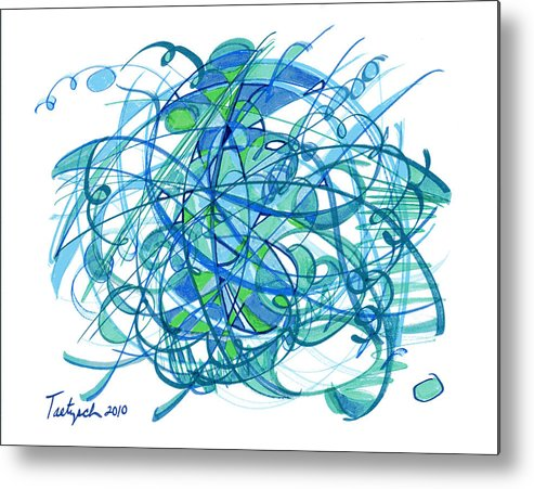 Abstract Drawing Metal Print featuring the drawing 2010 Abstract Drawing 30 by Lynne Taetzsch
