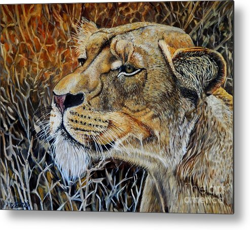 Lion Metal Print featuring the painting A Curious Lioness by Caroline Street