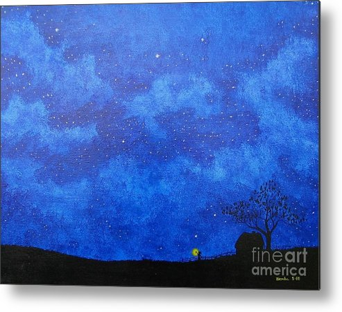 Landscape Metal Print featuring the painting A Single Candle by Lori Ziemba