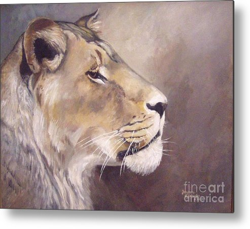 African Lioness Metal Print featuring the painting African Lioness On Alert by Suzanne Schaefer
