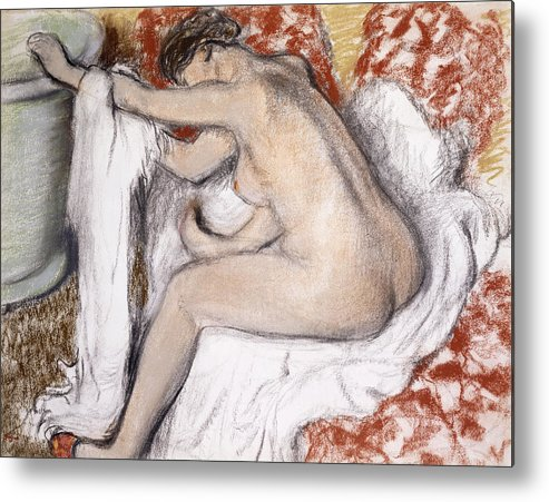 19th Century Metal Print featuring the painting After The Bath Woman Drying Herself by Edgar Degas