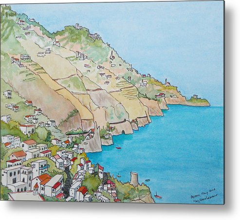 Landscape Metal Print featuring the painting Amalfi Coast Praiano Italy by Mary Ellen Mueller Legault