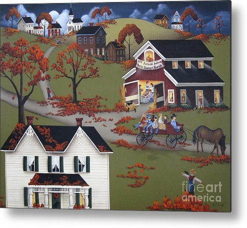 Art Metal Print featuring the painting Annual Barn Dance And Hayride by Catherine Holman