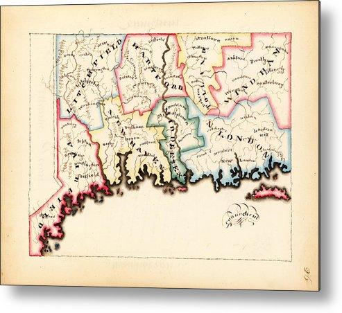 World Metal Print featuring the drawing Antique Map Of Connecticut by Celestial Images