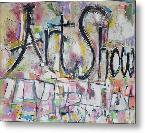 Mixed Media Collage Painting Metal Print featuring the painting Art Show by Hari Thomas