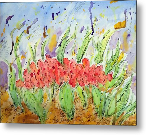 Metal Print featuring the painting At The Garden Iv by Nicolas Segoviano