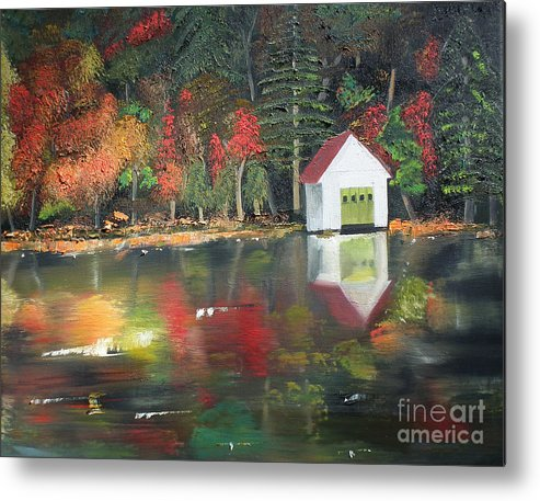 Happy Little Trees Metal Print featuring the painting Autumn - Lake - Reflecton by Jan Dappen