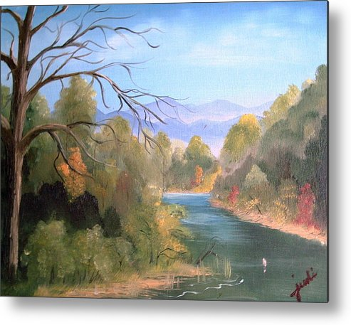 River Landscape Metal Print featuring the painting Az High Country by Judi Pence