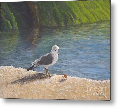 Sea Gull Metal Print featuring the painting Back Off by Cindy Lee Longhini