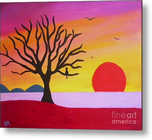 Bare Tree Landscape Treecat Tree Cat In Tree Metal Print featuring the painting Bare Tree by Kenneth Regan