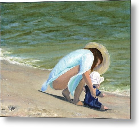 Beach Scenes Metal Print featuring the painting Beach Baby by Deborah Butts
