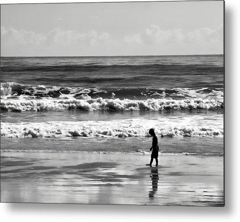 Ocean Metal Print featuring the photograph Beach Walker 30 by Michael Schwartzberg