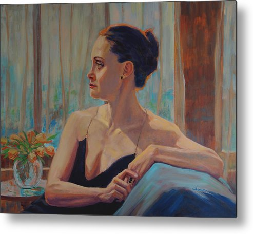 Portrait Metal Print featuring the painting Before The Ballet by Keith Burgess