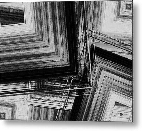Black And White Metal Print featuring the digital art Black And White Geometric Art by Mario Perez