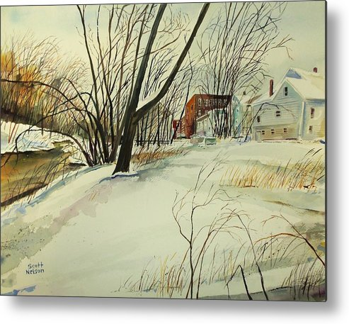 Watercolor Metal Print featuring the painting Blackstone River Snow by Scott Nelson