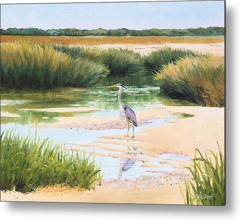 Marsh Metal Print featuring the painting Blue Heron by Karol Wyckoff