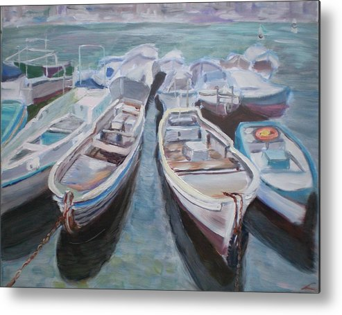 Boats Metal Print featuring the painting Boats by Elena Sokolova