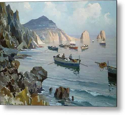 Boat Metal Print featuring the painting Boats In A Rocky Cove by Edward Henry Potthast