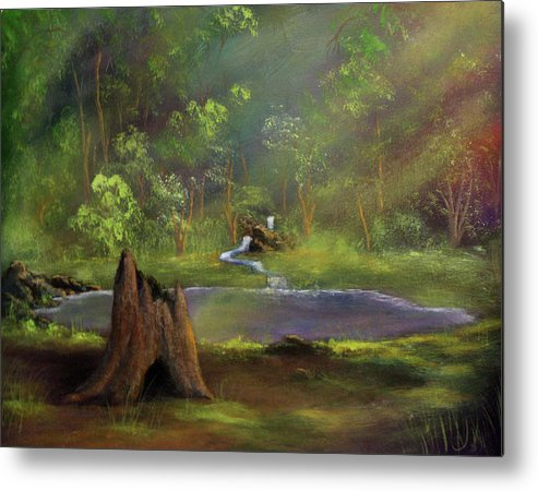 Stump Metal Print featuring the painting Brightening by Dawn Blair