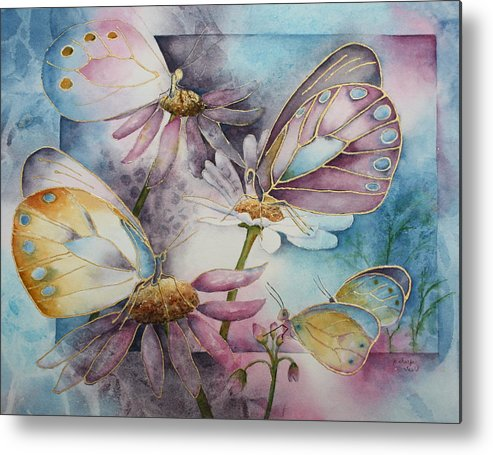 Butterflies Metal Print featuring the painting Butterfly Garden by Patsy Sharpe