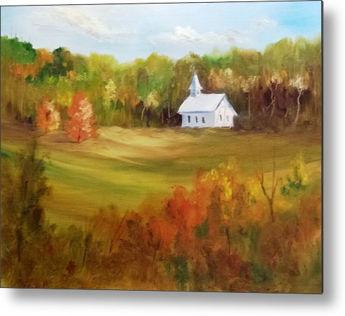 Landscape Metal Print featuring the painting Cades Cove by Larry Hamilton