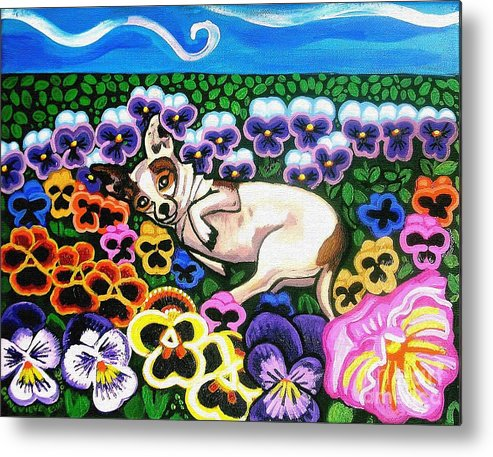 Dog Portrait Metal Print featuring the painting Chihuahua In Flowers by Genevieve Esson