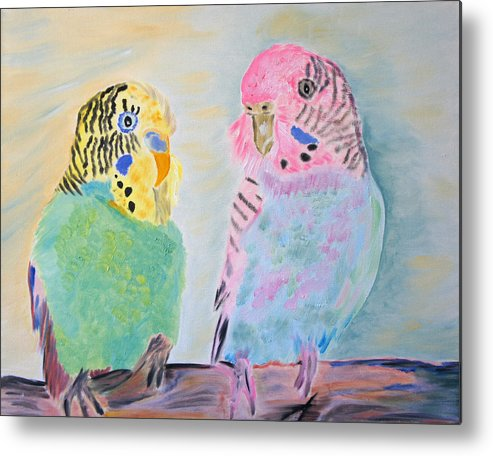 Parakeets Metal Print featuring the painting Childhood Parakeets by Meryl Goudey