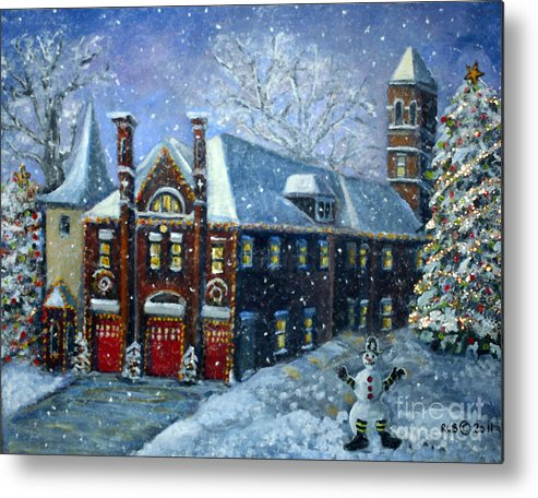 Waltham Metal Print featuring the painting Christmas At The Fire House by Rita Brown