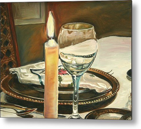 Still Life Metal Print featuring the painting Christmas Dinner With Place Setting by Jennifer Lycke