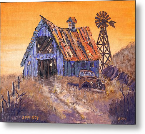 Barn Metal Print featuring the painting Class Of 39 by Jerry McElroy