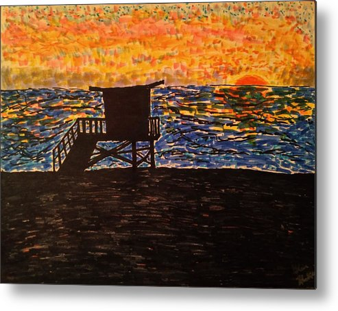 Beach Posters Metal Print featuring the drawing Coastal Contemplation by Glen Hunkins