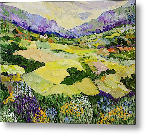 Landscape Metal Print featuring the painting Cool Grass by Allan P Friedlander
